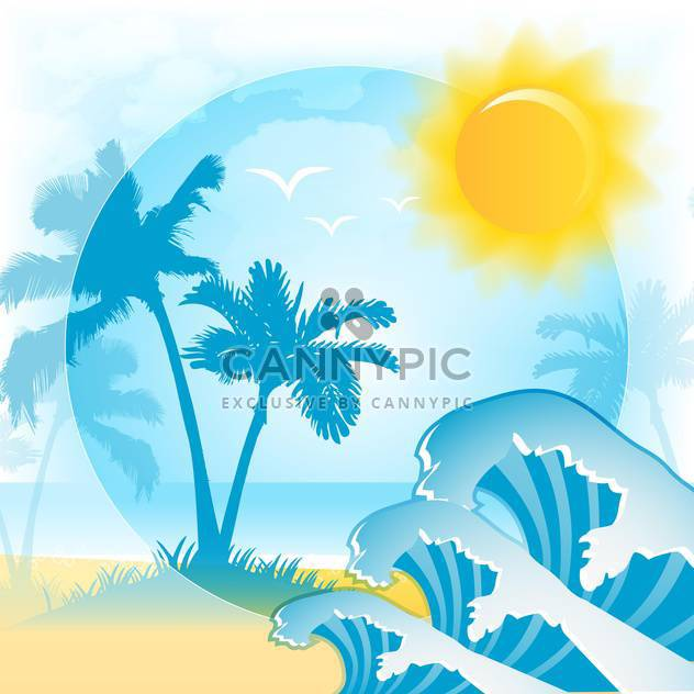 vector background with summer beach - Free vector #134001