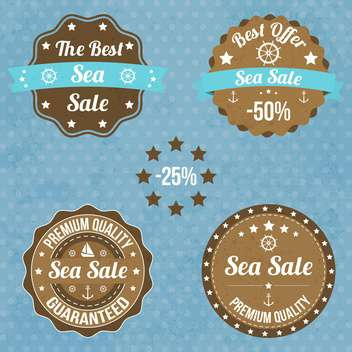 set of nautical badges and labels - vector gratuit #134051