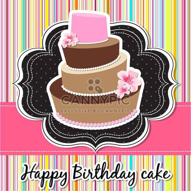 happy birthday card with cake - Free vector #134061