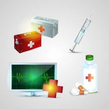 medicine ambulance icons set - Free vector #134181