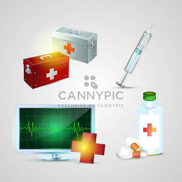 Medizin-Ambulanz-Ikonen-Satz - Free vector #134181