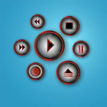 media player buttons set - Kostenloses vector #134231