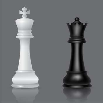 black and white chessmen vector illustration - vector #134791 gratis