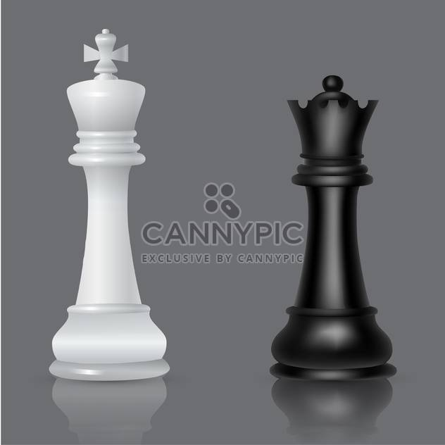 black and white chessmen vector illustration - Free vector #134791