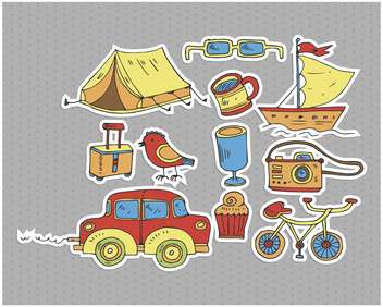 cartoon items set for travel illustration - Free vector #135011