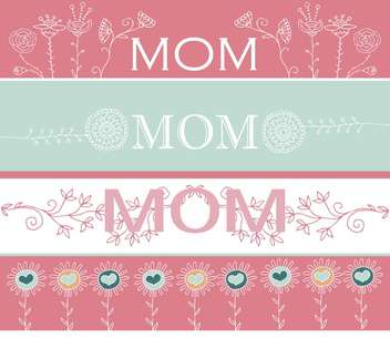 mother's day greeting banners with spring flowers - vector gratuit #135051
