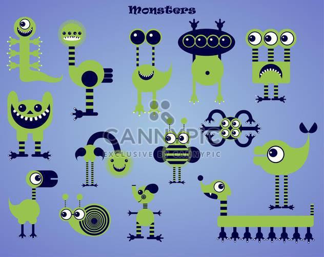 set of green cartoon monsters illustration - Free vector #135081