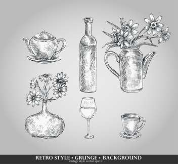 vector set of retro style kitchenware - Free vector #135101
