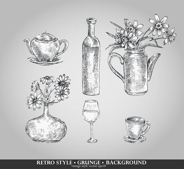 vector set of retro style kitchenware - vector #135101 gratis