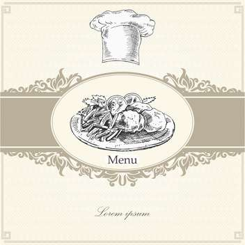 template for menu with cook hat and plate - Free vector #135181
