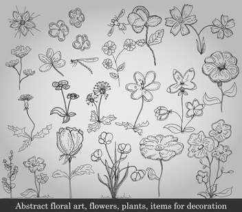 abstract flowers, plants and items for decoration - vector #135231 gratis