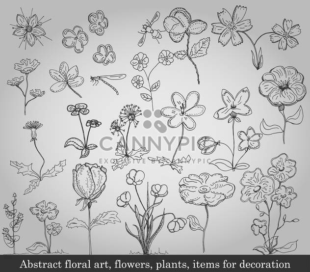 abstract flowers, plants and items for decoration - Free vector #135231