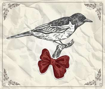 vintage card with bird and red bow - vector gratuit #135241