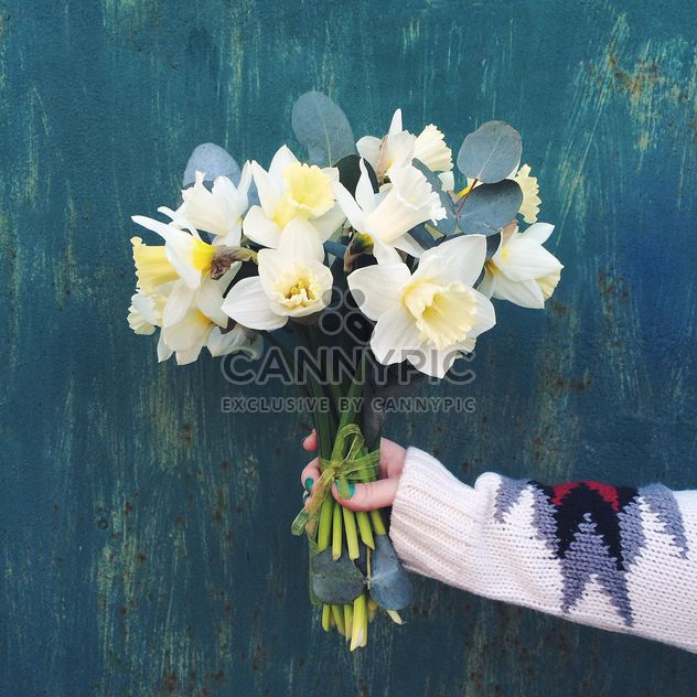 Bouquet of daffodils in female hand - Free image #136531