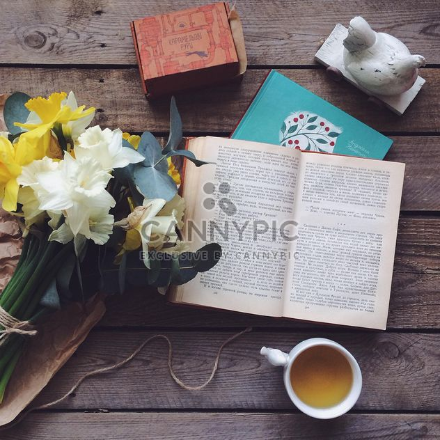 Books, flowers and cup of tea - Free image #136541