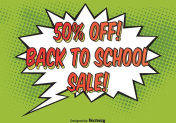 Comic Style School Sale Background Vector - Free vector #138761