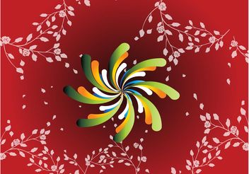Red Floral Spiral Background - vector gratuit(e) #138801