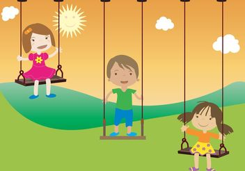 Happy Kids Swinging - Free vector #139071