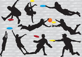 Silhouette Frisbee Players Vectors - Free vector #139121