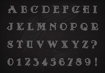 Free Vector Chalk Drawn Art Deco Alphabet And Numbers - Free vector #140811