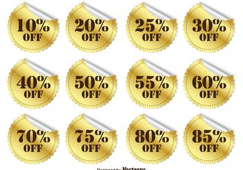 Gold Promotional Discount Stickers - бесплатный vector #140841