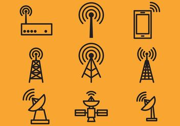 Antenna Tower And Satellite Vector Icons - Free vector #140901