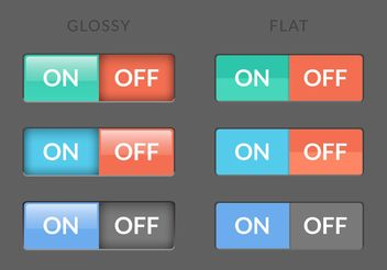 Free Toggle Switch On Off Buttons Vector - Kostenloses vector #141041