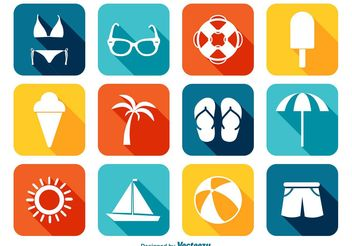 Bright Summer Icon Set - vector gratuit #141071
