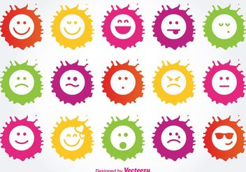 Paint Splatter Emoticon Icon Set - Free vector #141141