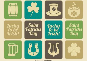 Vintage Saint Patrick's Day Icon Set - Free vector #141251