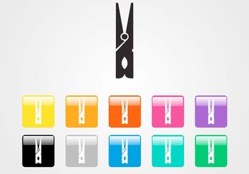 Clothespin Vector Icon Set - vector gratuit #141271