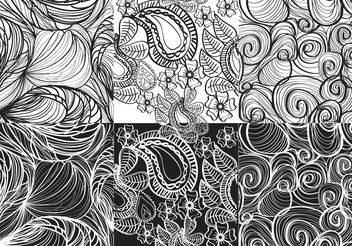 Set White And Black Paisley Vectors - Free vector #141331