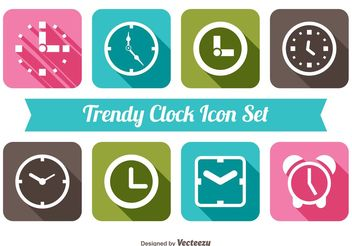 Trendy Clock Icon Set - Kostenloses vector #141931