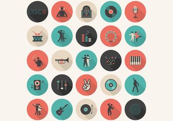 Free Flat Music Vector Icon Set - Free vector #141941