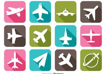 Long Shadow Airplane Icons - Free vector #141961