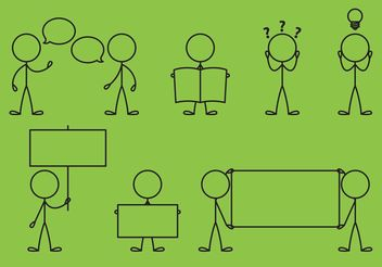 Stick Figure Icons Messages - Free vector #142021