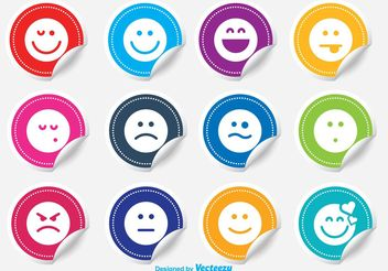 Emoticon Sticker Vector Set - Kostenloses vector #142051