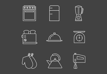 Free Outline Vintage Kitchen Utensils Vector Icons - Free vector #142721
