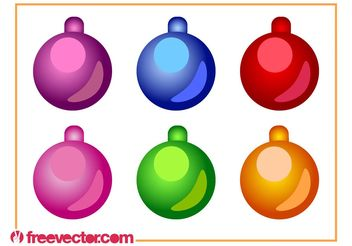Christmas Ornaments Vector Set - vector gratuit #142931