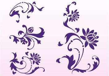 Floral Scrolls Silhouettes - Free vector #143361