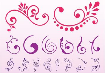 Floral Scrolls Graphics Set - Free vector #143381