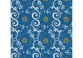 Blue Seamless Floral Background - vector gratuit #143861