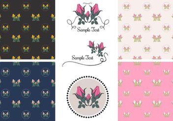 Free Vector Vintage Rose Patterns - Kostenloses vector #144191
