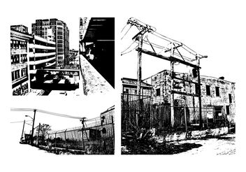 Grunge Urban Buildings - бесплатный vector #144891