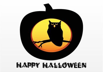 Halloween Pumpkin With Owl - vector gratuit #144991