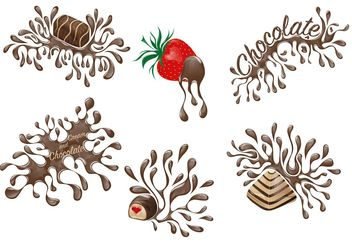 Set of Chocolate Drip Desserts - vector gratuit #145081
