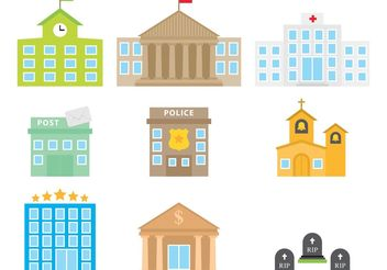 Colorful City Buildings - Free vector #145431