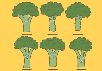 Broccoli Cartoon Vectors - Free vector #145611