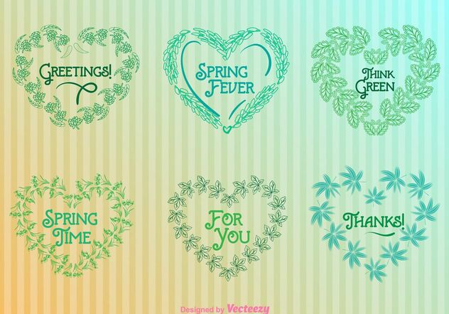 Nature Heart Wreaths Templates - Free vector #145731
