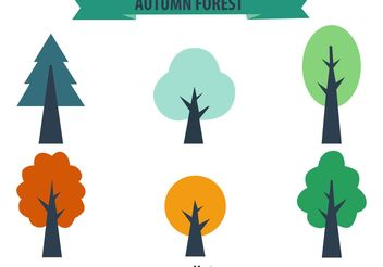 Colourful Seasonal Trees Vectors - Free vector #145761